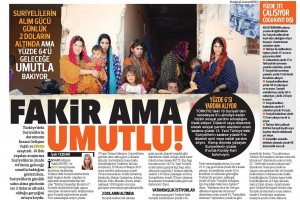 """Mülteci Hayatlar Monitörü"""" Hürriyet'te… Fakir ama Mutlu-2"""
